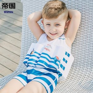 2019 NEW Floating Buoyancy Swimwear Striped Baby Boys Swimsuits One Piece Detachable Training Swimwear Kids Vest Swimming Clothes Swimwear