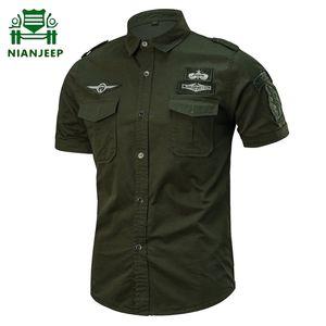 Summer Cotton Army Shirt Men Fashion Casual Military Short Sleeve Shirts Male Airborne Tactical Shirts Camisa Militar Masculina MX200518