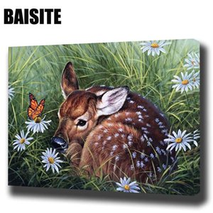 BAISITE DIY Framed Oil Painting By Numbers Animal Pictures Canvas Painting For Living Room Wall Art Home Decor E804