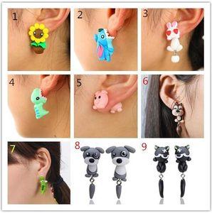 2018 36 Styles Cute 3D Dinosaur Dog Cat Pig Fox Panda Polymer Clay Earring Cartoon Stud Earring Handmade Stud Earrings 179