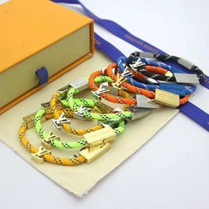 Hochwertiger Monogramm Multi-Buchstaben-8 Farben orange, grün, Glück Armband Seil Paare Schnalle Paar Armbänder handgemachte Damen für Männer Armband