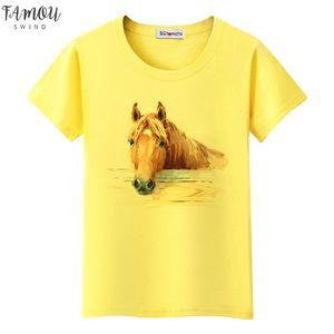 Super Cool 3D Horse Tshirt Cool Summer Tops Hot Sale Funny Tees Original Brand Casual V Neck Shirt Lovely 3D Horse T