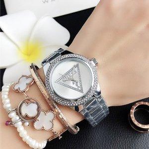 GUES бренд Кварцевые наручные часы для женщин девушка треугольник Кристалл стиль matel стальной браслет часы GS 24
