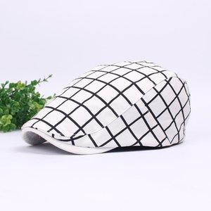 İlkbahar Yaz Erkek Kadın Ekose Pamuk Bereliler Düz Drivin Ivy Şapkalar Newsboy Cap Siyah Beyaz printting Moda Forward Şapka Toptan