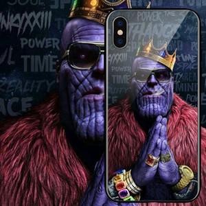 Supereroi Thanos Batman Custodia in silicone in vetro temperato TPU per iPhone X 8 7 6 6s Plus XR XSMAX Custodie per Samsung s10 s10e note9 s9