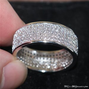 Hot Uphot Luxurious Paragraph Fashion 925 Sterling Silver Gemstone Rings Shining Full Simulated Diamond zircon Rings Finger for Woman