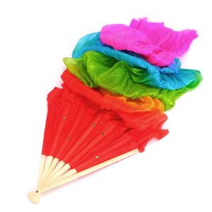 Nuove colorata danza del ventre di bambù lungo di seta fan veli 4 colori Hand Made Silk Fan