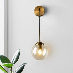 Bola de vidro moderno Edison Wall Lamp Nordic Gold Recados Luminárias Home Decor Quarto de banho Espelho de Luz Luminaire Indoor