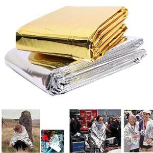 Аварийное одеяло аварийного выживания складной безопасности на открытом воздухе 210см * 130см Серебро / золото Укрытие аварийного выживания на открытом воздухе Кемпинг аварийное одеяло SOS