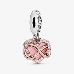 Nuovo arrivo argento 925 Sparkling Bracciale Infinity cuore ciondola fascino misura originale europea di modo di fascino gioielli e accessori