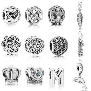 925 Sterling Silver игристые линии Ажурные Шарм Одно перо Подвеска Fit Pandora Оригинальные браслеты DIY ювелирные изделия