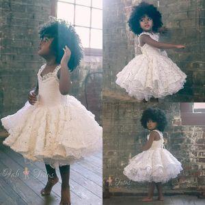 Pretty lantejoulas crianças meninas vestidos de babados rendas vestido de baile na altura do joelho menina pageant vestido para o casamento