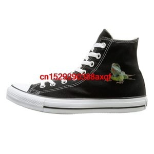 Unisexe Chaussures Casual Garçons et Filles Chaussures de sport Lizard en toile Chaussures montantes Casual Sneakers Noir Style Unisexe