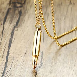 Collar de acero inoxidable con diseño de bala de bala en color dorado Urna Creación de ceniza PN-899RG