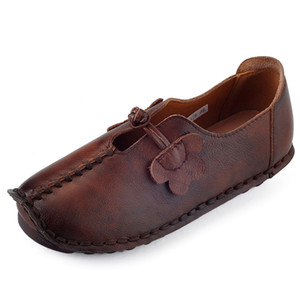 Retro Handmade Loafers Genuine Leather Shoes Woman Slip-On Fashion Casual Shoes Comfortable Breathable Women Flats
