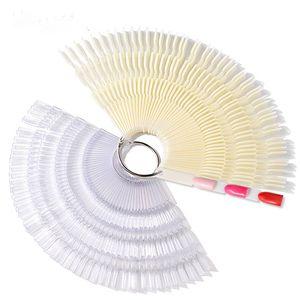 Bamboo Swatch 50 pc / a forma di ventaglio Set Nail Polish Tavola a colori di plastica gel fai da te Strumenti Nail Manicure punta di arte Attrezzature di pratica
