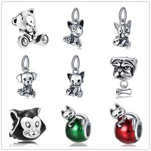 más nuevos MOQ20pcs plata libre europeo bulldog LABRADOR TERRIER CACHORRO oso gato dulce grano DIY pulsera apta D075 Charm Pandora
