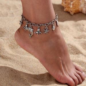 Vintage Style Dauphins Anklet Étoile de mer Conch Octopus Pendentif chaîne Anklet Ladies Summer Beach Bijoux