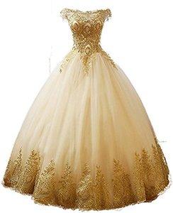 2020 Real Image Gold Lace аппликация Quinceanera платье выпускного вечер Bateau мантия шарик Сладкие 16 Формального Случай выпускного вечер платье сшитое