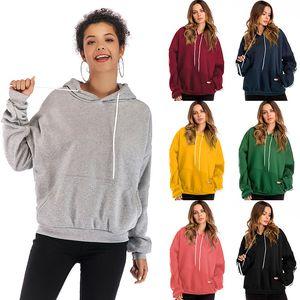 Sonbahar ve Kış Büyük Avrupa ve Amerikan Katı Renk İpli Kapşonlu Triko Kadınlar artı Kadife Uzun Kollu Pocket Gömlek Kadınlar Womens
