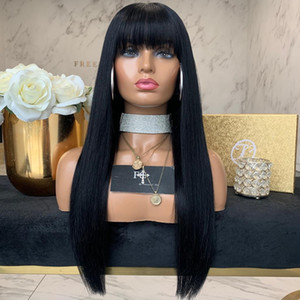 Straight Human Hair Wigs With Bangs For Black Women Brazilian Wig Natural Color 25 Inches Ms Love no Remy