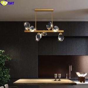 FUMAT 2020 New Chandelier Ice Crystal Pendant Lamp Copper Frame Dinning Living Room Luxury Villa Hanging Light Fixture Lighting