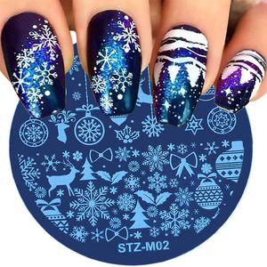 1pcs أظافر عيد الميلاد ختم قالب زهرة الثلج حول طلاء أظافر لوحة الطابعة Snip For Nail Art