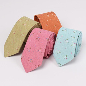New Fashion Groom Wedding Neck Ties Floral Printed Cotton Linen Tie For Mens Wedding Prom Evening Party Suits Skinny Grooms Necktie Cheap
