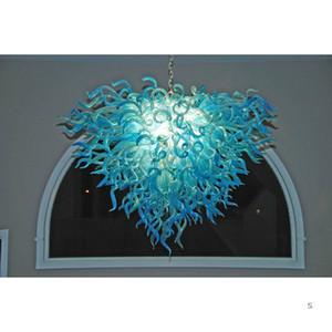 Luxury Art El Işık Asma Salon LED Murano Cam Tavan Dekorasyon Cam Avize Aydınlatma Üflemeli