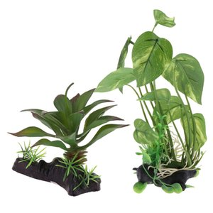 2PCS Aquarium Plants Vivarium Ornaments Reptile Tank Habitat Plants Decoration