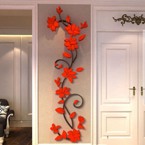 3D Wall Stickers specchio caldo Quota fiore alberi Decal acrilico casa Camera di arte di DIY parete Vinile smontabile Adesivi Decor
