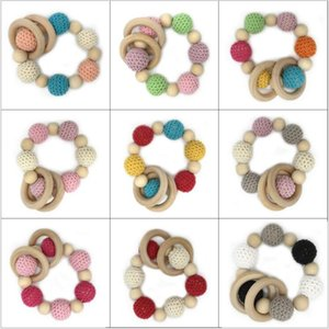 Ins enfants Bracelets en bois Enfant Perles en bois Perles Tétines handmake Teething Bracelet bébé naturel Jouets non toxique Hot Vente TL107