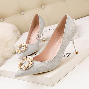Zapatos de novia talones atractivos sandalias de las bombas de las señoras en punta de la cuña con cordones Boca baja del Todo-Fósforo Slip OM Mujer Esposa Casual