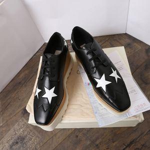 Luxo Britt couro genuíno moda Stella Calçados Elyse escovado estrelas sapatos de plataforma Platform Wedge Derbys Lace-up Plano McCartney Shoes