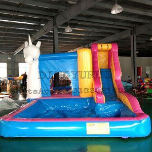 Einhorn-Entwurf aufblasbare Bouncer Slide mit Pool im Freien Springen Bounce Combo Spiel Trampolin Slide Pool 3 in 1