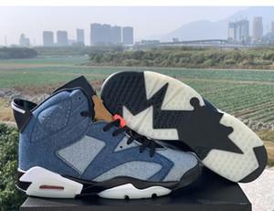 Venta caliente 6 lavados dril de algodón de Vela-Varsity Red-Negro baloncesto de los hombres Zapatos de la zapatilla de diseño 6s Blue Jeans para hombre de la zapatilla de deporte del vaquero Deportes CT5350-401