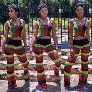 2pcs Pants Striped Sleeveless Tie Fashion Womens 2pcs Sets High Waist Plaid Female Apparel Summer Ladies Mesh