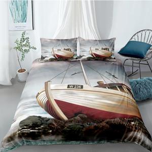Batık Yatak Seti King Size Lifelike High End 3D Nevresim Sahil Kraliçe İkiz Tam Tek Kişilik Eşsiz Tasarım Yatak Seti
