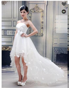 Ball Gown Strapless Flowers High-low Wedding Dress