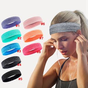 Gimnasio Cinta de cabeza Deporte sólido elástico Correr Ciclismo Sweatband hombres mujeres Pañuelo de Headwear de la aptitud del yoga LJJA4002 cabeza sudor pelo