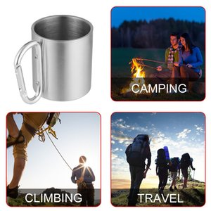 Carabiner Cup 220ml Outdoor Stainless Steel Water Tea Coffee Mug Self Lock Carabiner Handle Cup For Camping Hiking Climbing Portable Drop