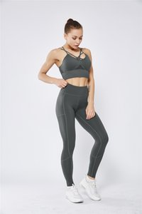 Prêt Stock de haute qualité pour femmes Yoga Pantalon Bouddha Pantalon Poches Run Sport Fitness recadrée Leggings entraînement