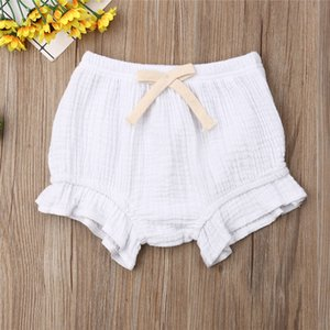New Style Baby Girl Cotton Shorts Bow Knot Elastic Waist Belt Infant PP Bloomers Pure Color Nappy Cover Hot Sale Newborn Shorts