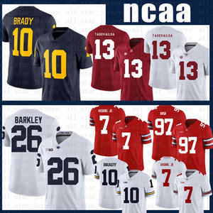 ncaa Alabama Crimson Tide football Jersey 13 Tua Tagovailoa Michigan Wolverines 10 Tom Brady Penn State Nittany Lion 26 Saquon Barkley wexe