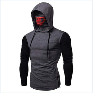 Fashion Mens Hooded Stylish Mask Contrast Man Sweatshirts Drawstring Color Skull Hoodie Long Hoodies Hombre Sleeve Design Pullovers For Cjnr