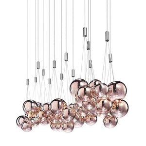 Bola de vidro Modern Rose Gold metal Chandelier Início Living Room Hotel Luz de teto luminária Fixação PA0584