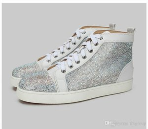 Designer shoes Red Bottom Spikes Sneakers high-top Leather crystal Luxury Mens shoes Party Wedding Spiked Toe Flats trainers SZ 5-12