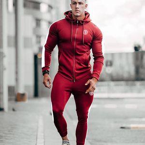 2019 Muscle Brothers Sports Suit Running Training Sweatshirt Wei Pants Fitness Wear Men Long Sleeve Tops Sports Pants Set