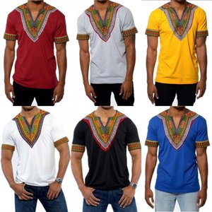 Africa Clothing Dashiki Mens Shirt Hipster African Print T-shirt Plus Size Shirt Tribal Ethnic Men Short Sleeve Shirts Camisa