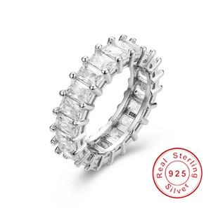 925 PAVE ARGENTO Taglio radiante FULL SQUARE Diamante simulato CZ ETERNITY BAND ENGAGEMENT MATRIMONIO Anello in pietra JEWELRY Taglia 5,6,7,8,9,10,11,12